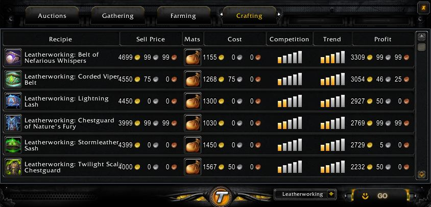 Tycoon leatherworking screen