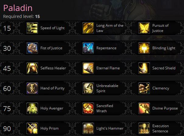 Paladin 1-90 talents