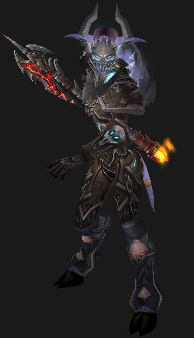 Your Death Knight Guide: a Female Draenei Death Knight, wearing Darkruned Battlegear