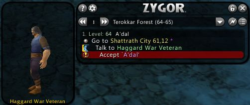 Zygor's leveling guide showing the quest and who to look for