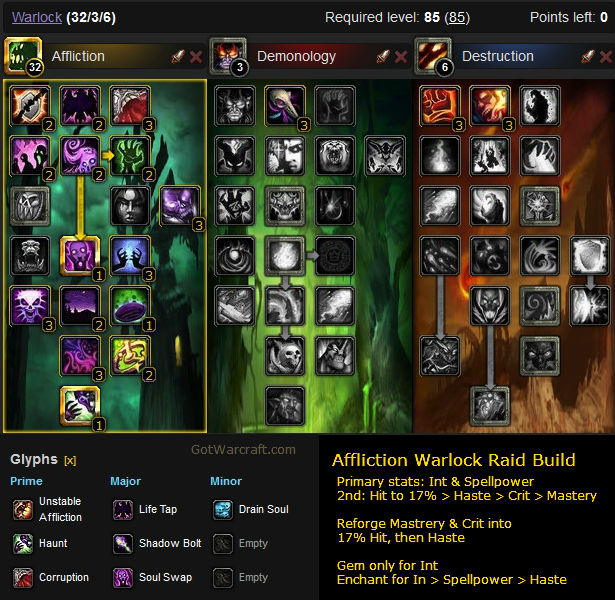 Affliction Warlock Raid Build