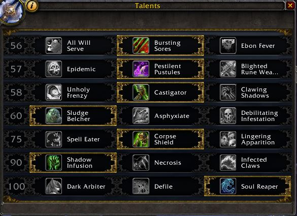 Death Knight - Unholy - PvE talents for Legion