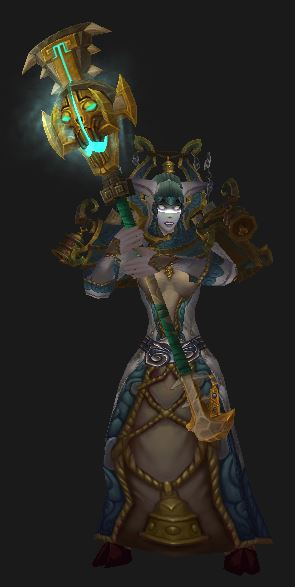 "Draenei Shadow Priestess ""Regalia of the Exorcist"" Tier 15 set  with Dinomancer's Spiritbinding Spire"