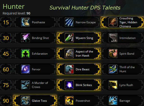 Survival Hunter DPS Talents