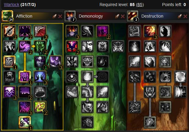 Affliction Warlock leveling build
