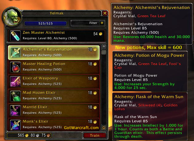 Alchemy in Mists of Pandaria