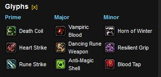 Death Knight Blood Spec tanking glyphs
