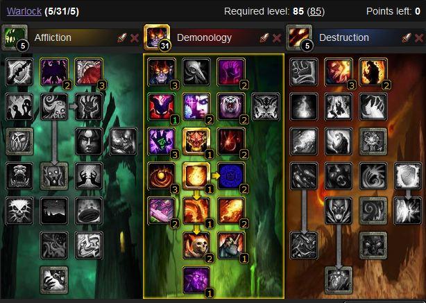Demonology Warlock leveling spec