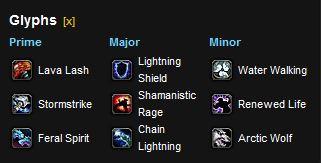 Enhancement Shaman leveling glyphs