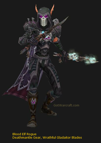 Blood Elf Subtlety Rogue in Deathmantle Gear