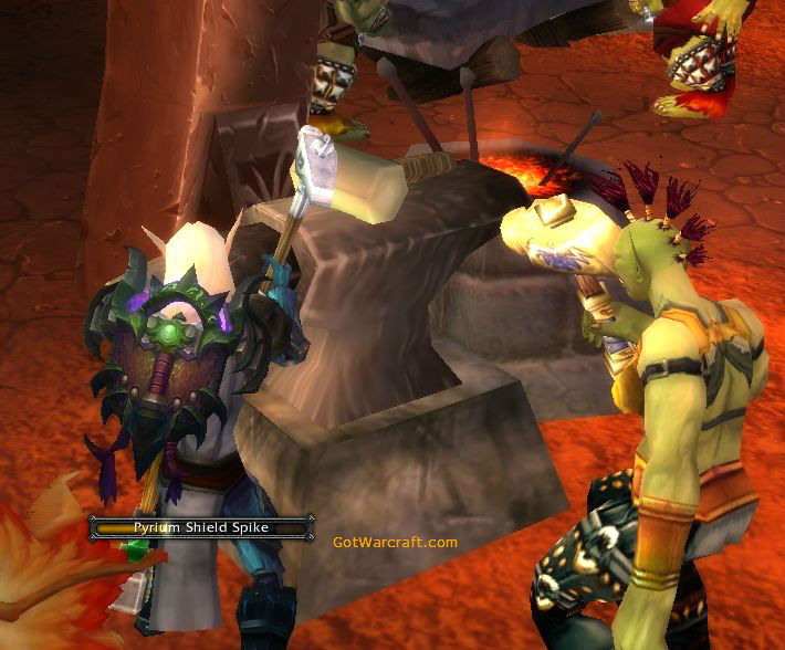 Blood Elf learns Blacksmithing from a helpful Orc