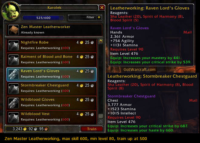 Leveling Leathworking to 600 in patch 5.4