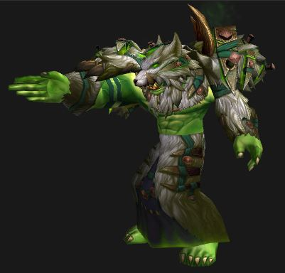 An Orc Resto Shaman Models the Season 14 Grievous Gladiator PvP Set