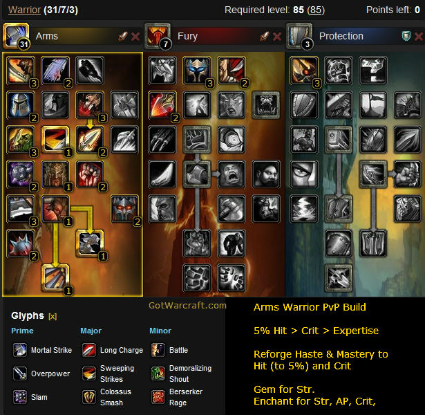 Arms Warrior PvP Build