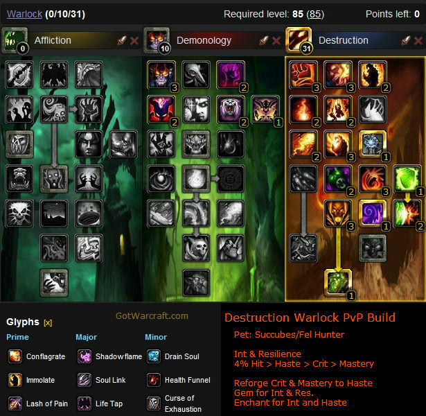 Destruction Warlock PvP Build 1