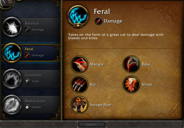 The Four Druid Specs