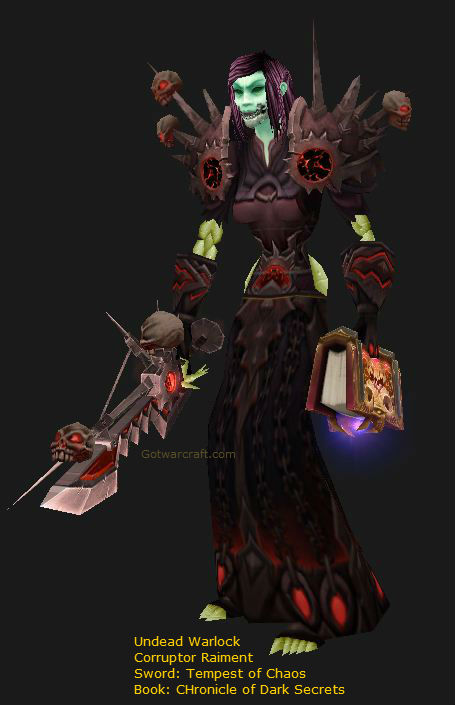 "Undead Warlock Leveling in gear transmogged to ""Corruptor Raiment"""