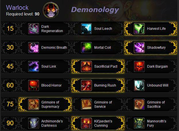 Warlock leveling talents