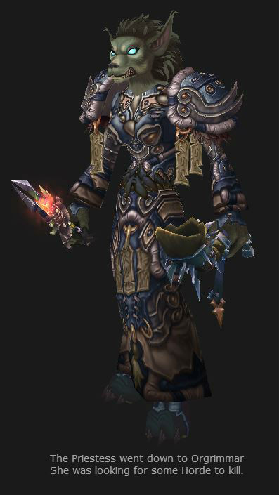 Worgen Priestess is now level 90, in Season 13 Elite PvP gear