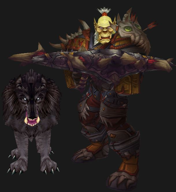 Orc Hunter in Tyrranical PvP Gear with Dire Wolf pet