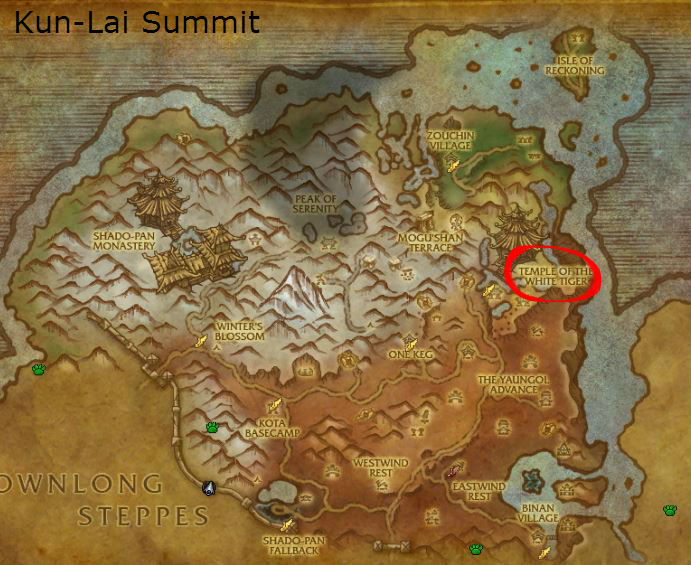 Kun-Lai Summit, Temple of the White Tiger, location of The Proving Grounds