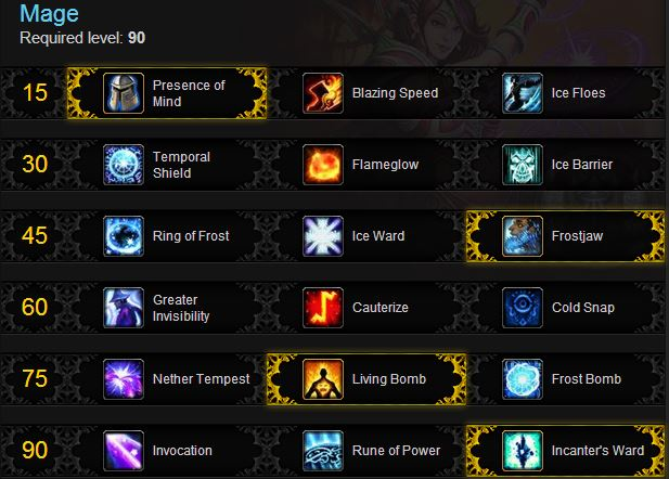 fire mage rotation burst talents