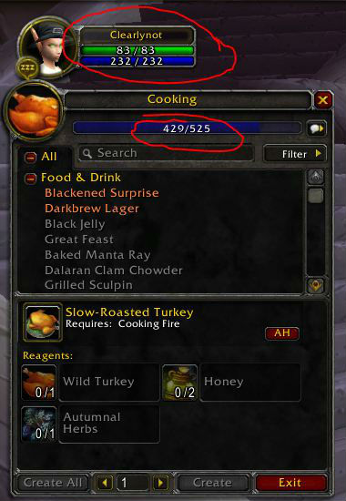Leveling cooking to 429 at level 3 during Pilgrim's Bountry