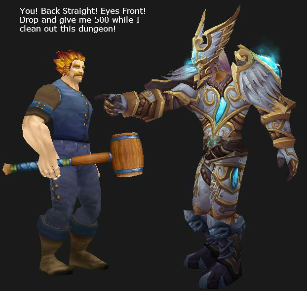 Paladin leveling his buddy, Drop and Give me 500!