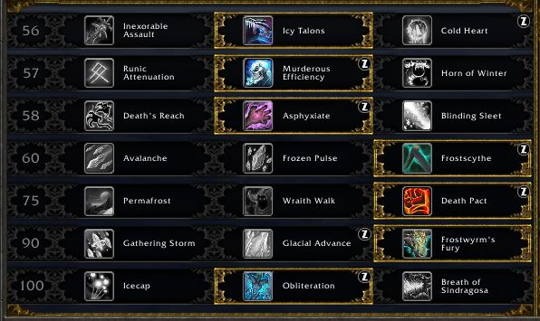 Frost death Knight leveling talents