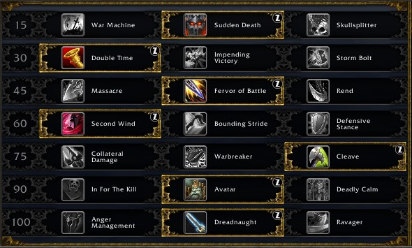 Arms Warrior leveling talents