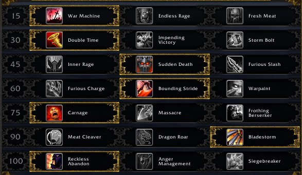 Fury Warrior leveling talents
