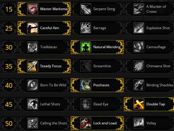 Marksmanship Hunter Leveling Talents for Shadowlands