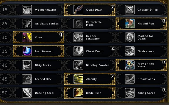 Ourlaw Rogue Leveling Talents