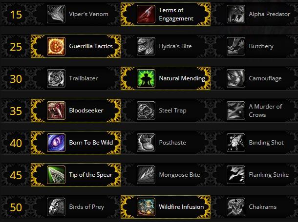 Survival Hunter Leveling Talents for Shadowlands