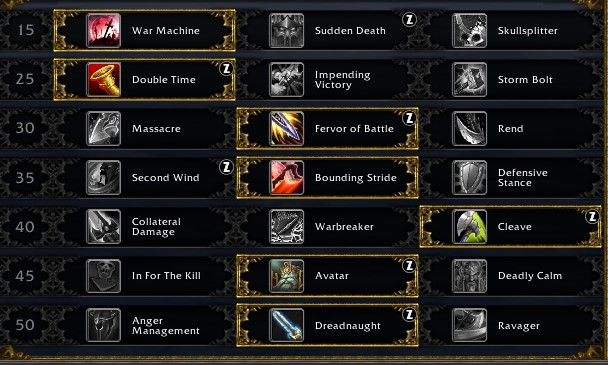 Arms leveling talents for Shadowlands
