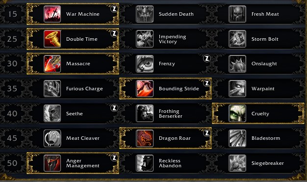 Fury leveling talents for Shadowlands