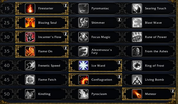 Fire Mage Leveling Talents for Shadowlands