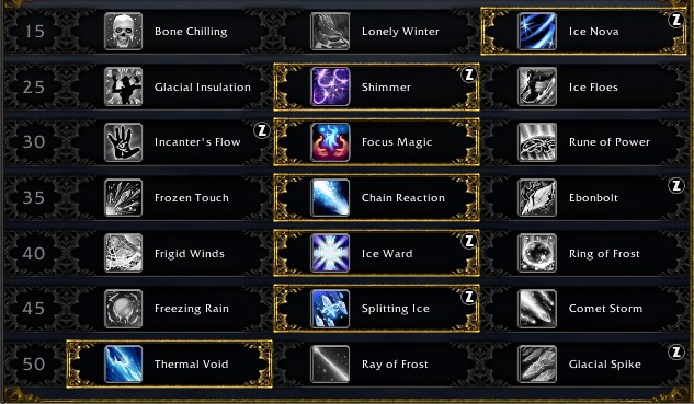 Frost Mage Leveling Talents for Shadowlands